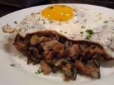 Best ever holiday breakfast – Fried egg over stuffing